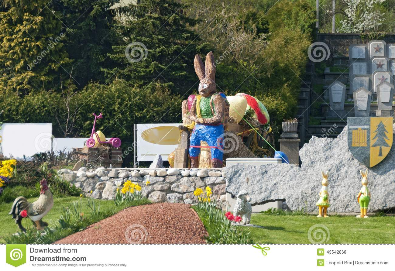 roundabout with easter decoration stock photo image of