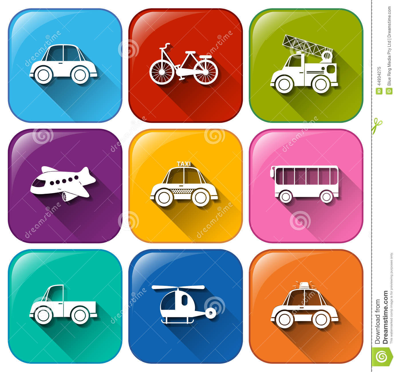 rounded buttons with the different types of transportation stock