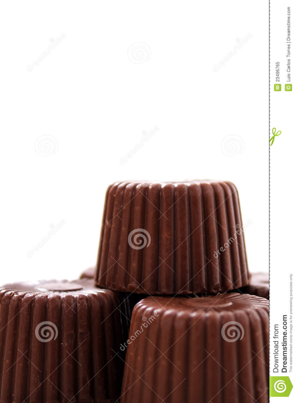 Rounded chocolate from bottom