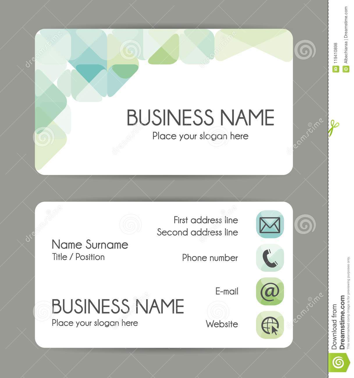 Rounded corner business card template green tones front and back download rounded corner business card template green tones front and back stock vector flashek Choice Image