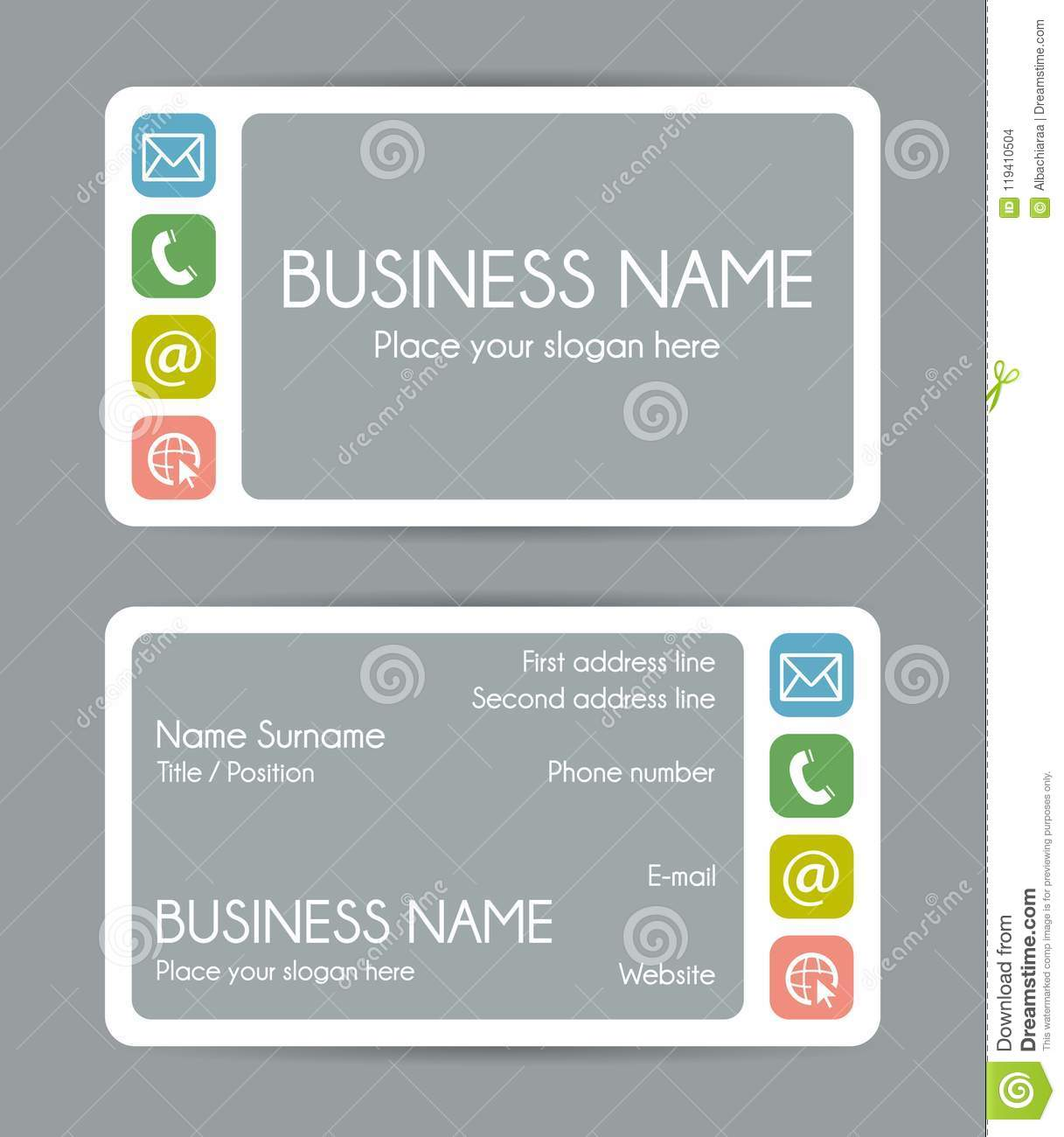 Rounded corner business card template vector set stock vector rounded corner business card template vector set flashek Choice Image