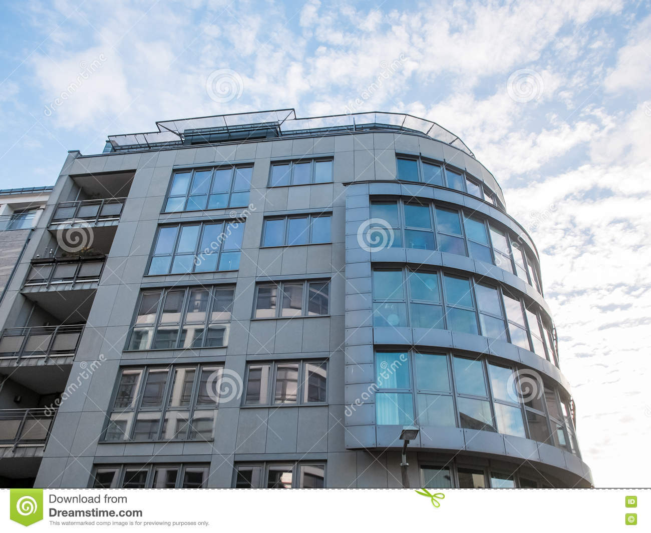 Rounded Exterior Of Modern Apartment Building