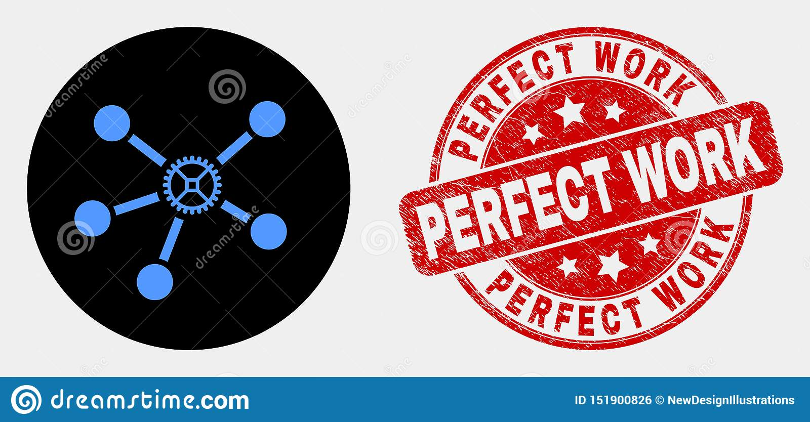 Vector Gear Links Icon and Grunge Perfect Work Seal