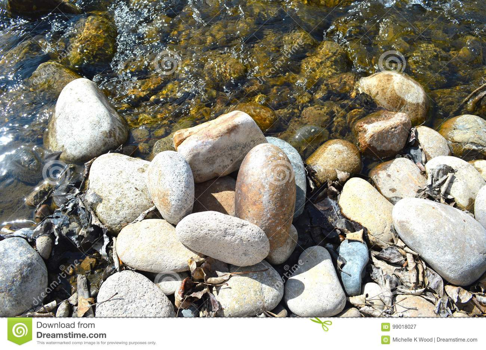 River rocks in sparkling water