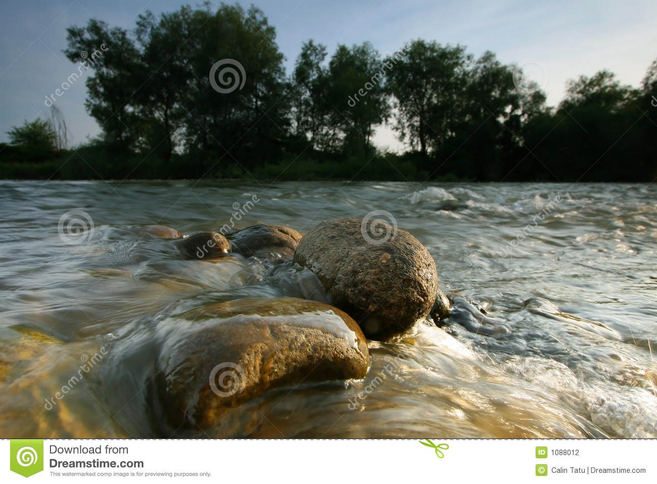 Rounded stones in the river