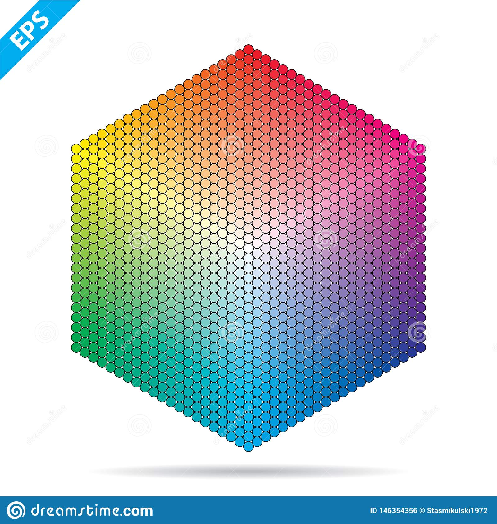 Vector color palette. 1261 different colors in small circles in a shape of hexagon.