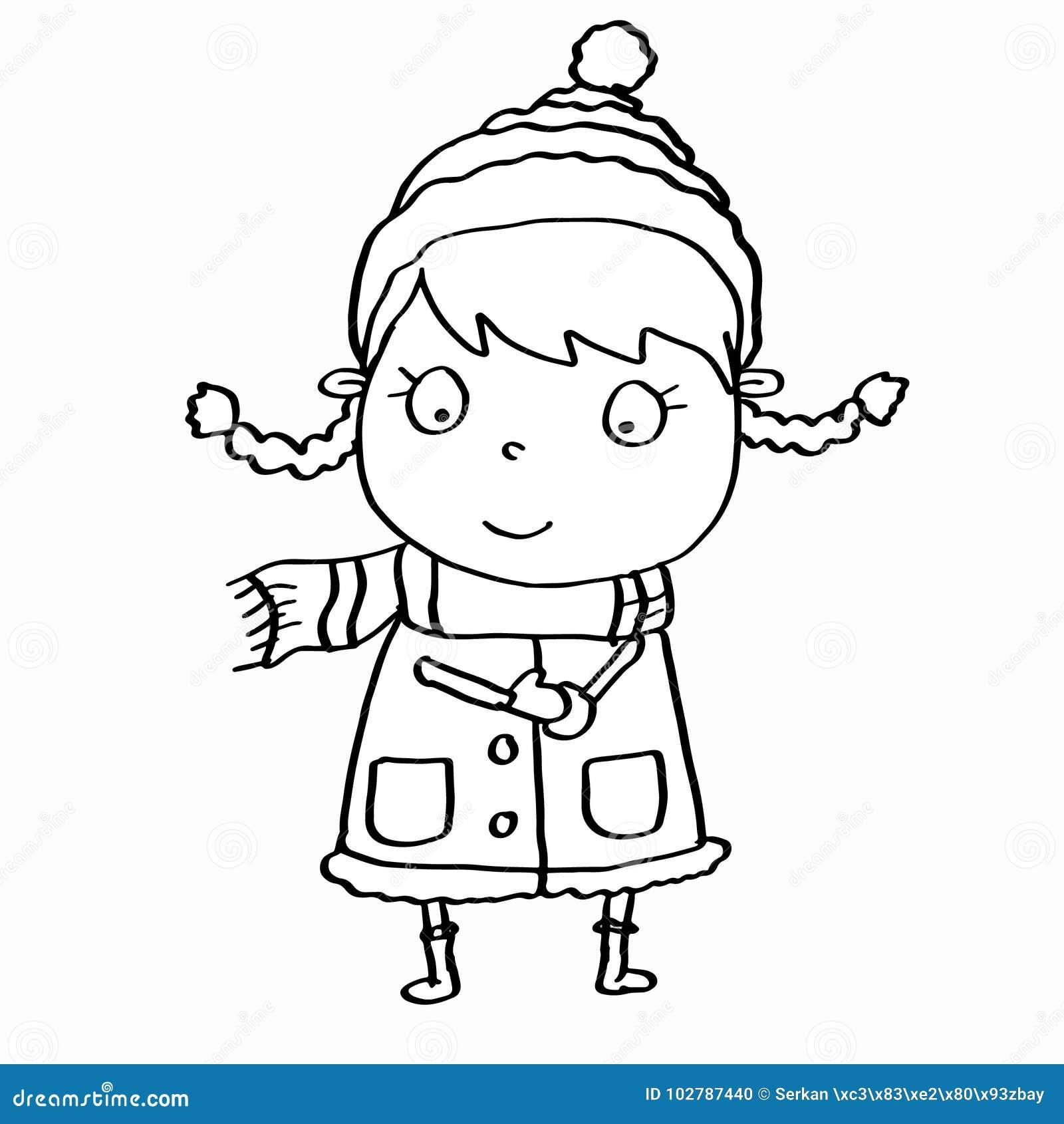 Roupa Bonito Da Menina E Do Inverno E Nevar E Colorir Ilustracao