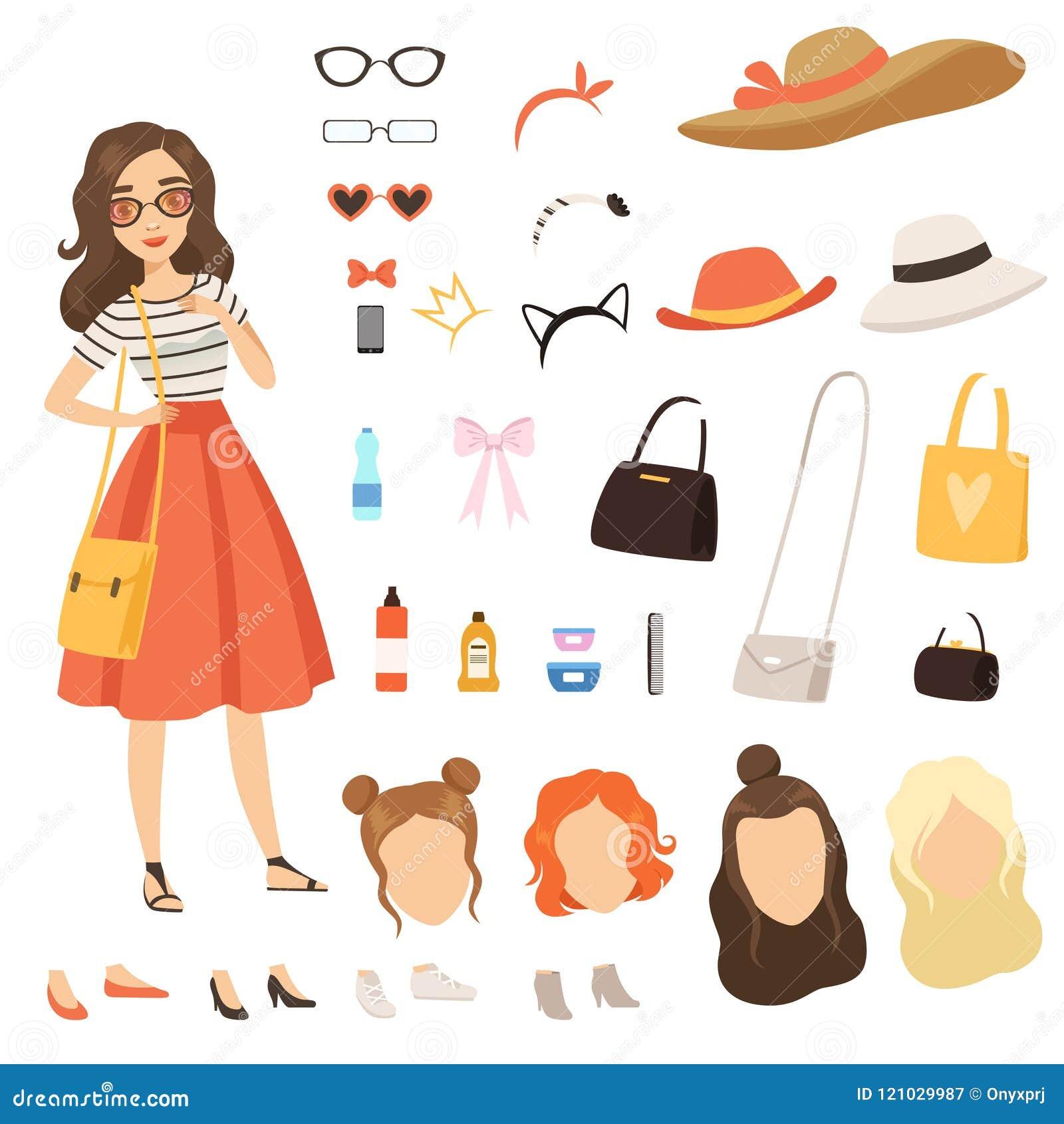 Roupa da menina elegante Caráter fêmea dos desenhos animados com os vários acessórios e roupa de forma