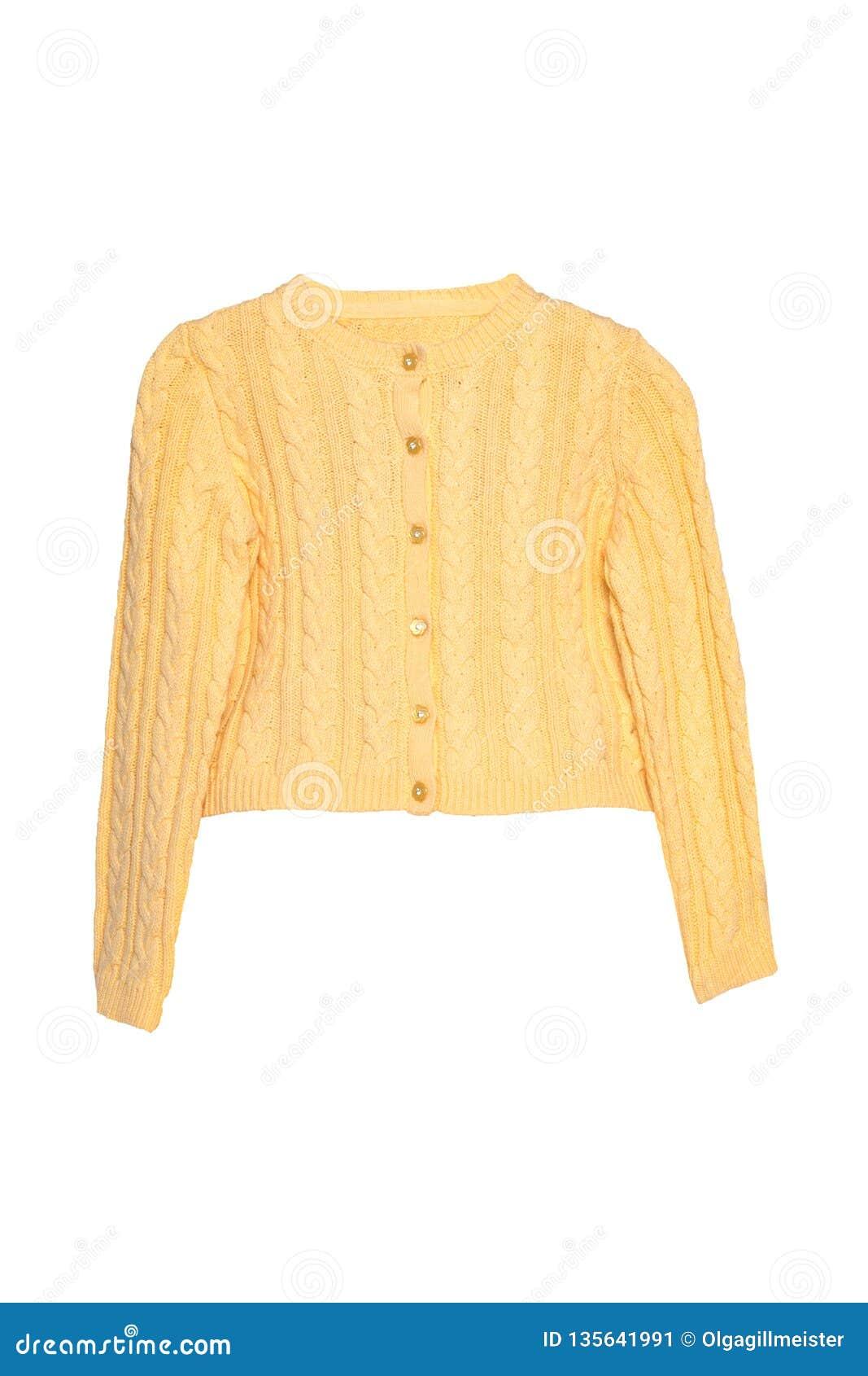 Roupa das meninas Camiseta amarela bonita festiva da menina ou casaco de lã feito malha isolada em um fundo branco Crianças e cri