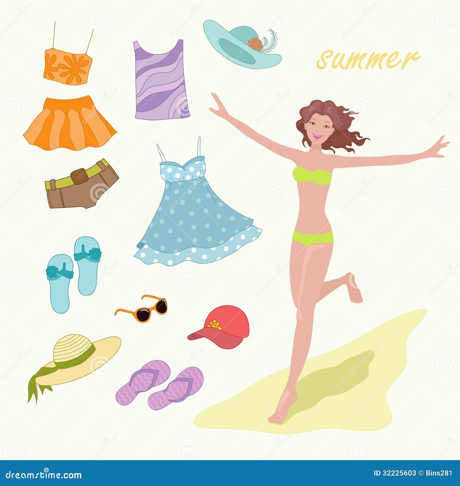 Download Roupa do verão ilustração do vetor. Ilustração de creativo - 32225603