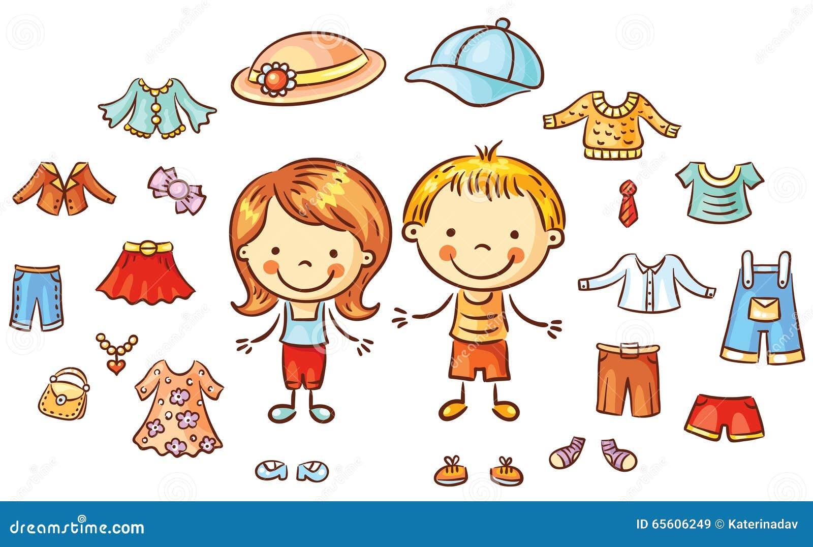 A roupa do verão ajustada para um menino e uma menina, artigos pode ser posta sobre