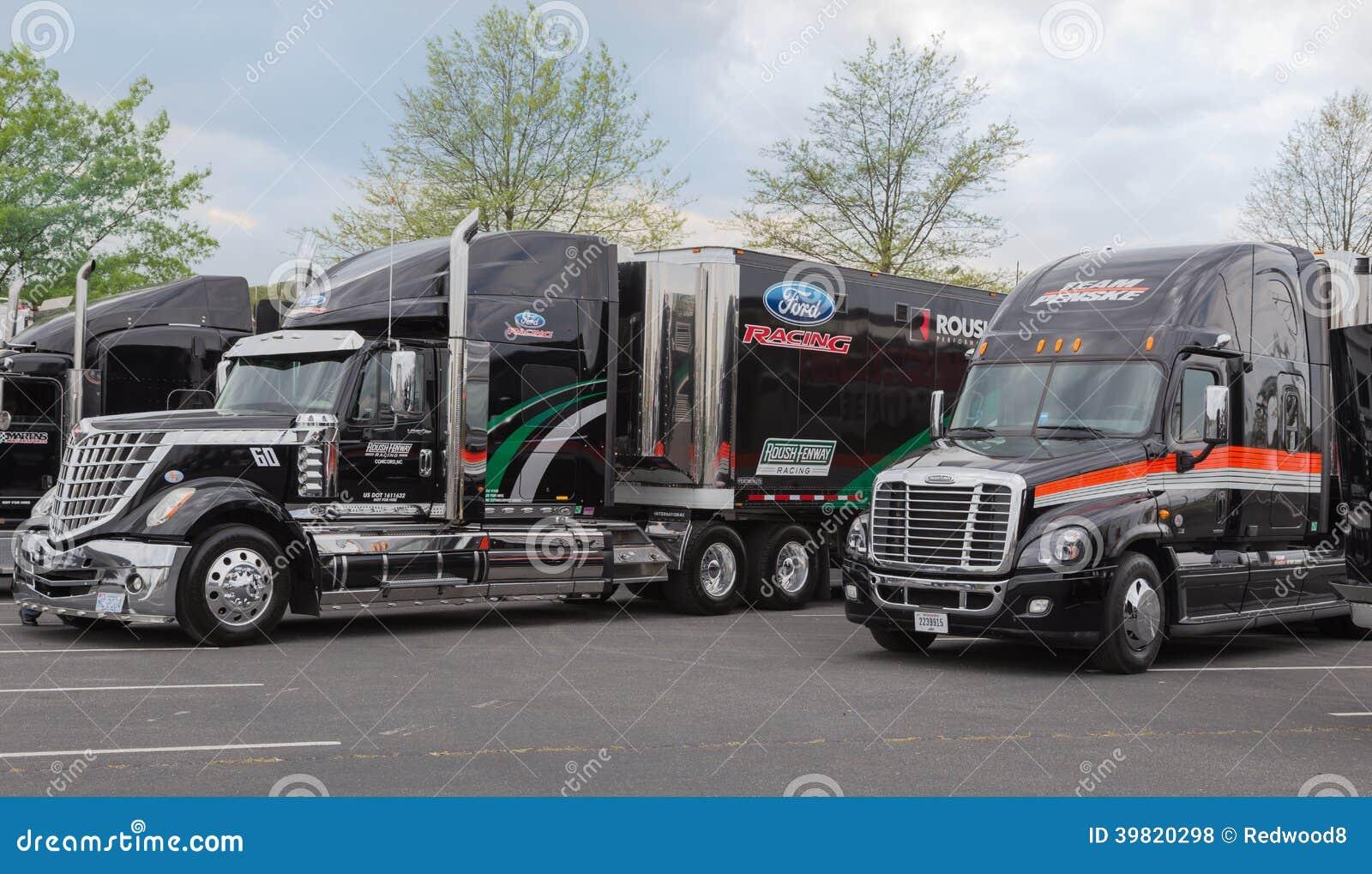 Roush Fenway Racing And Team Penske Nascar Haulers Editorial Stock