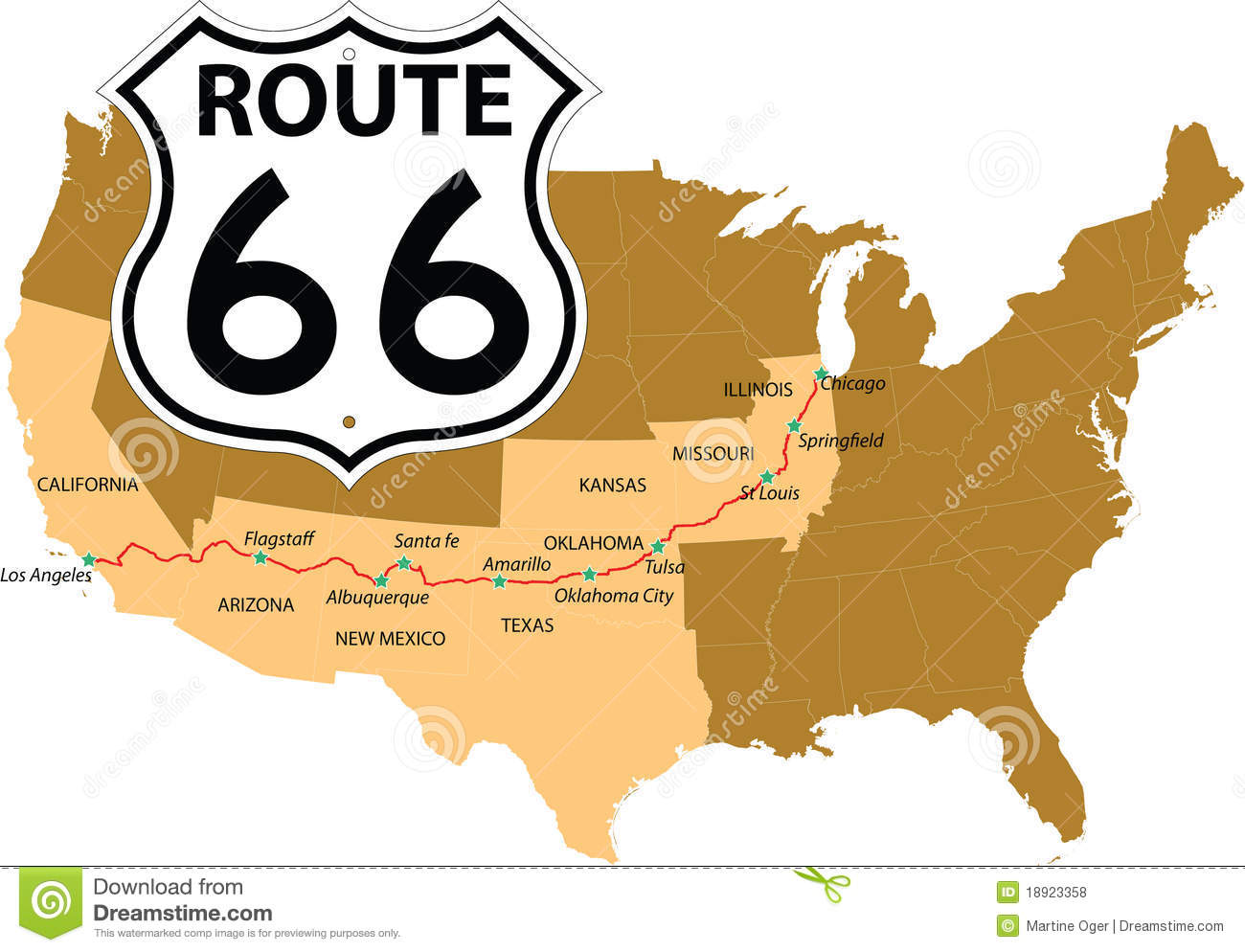Historic Route 66 California Map.Route 66 Stock Vector Illustration Of Historic Freeway 18923358