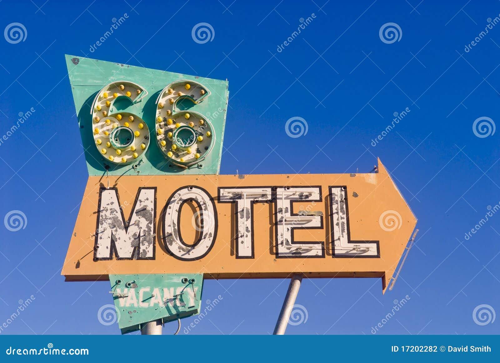 Route 66 motelteken van een verlaten motel