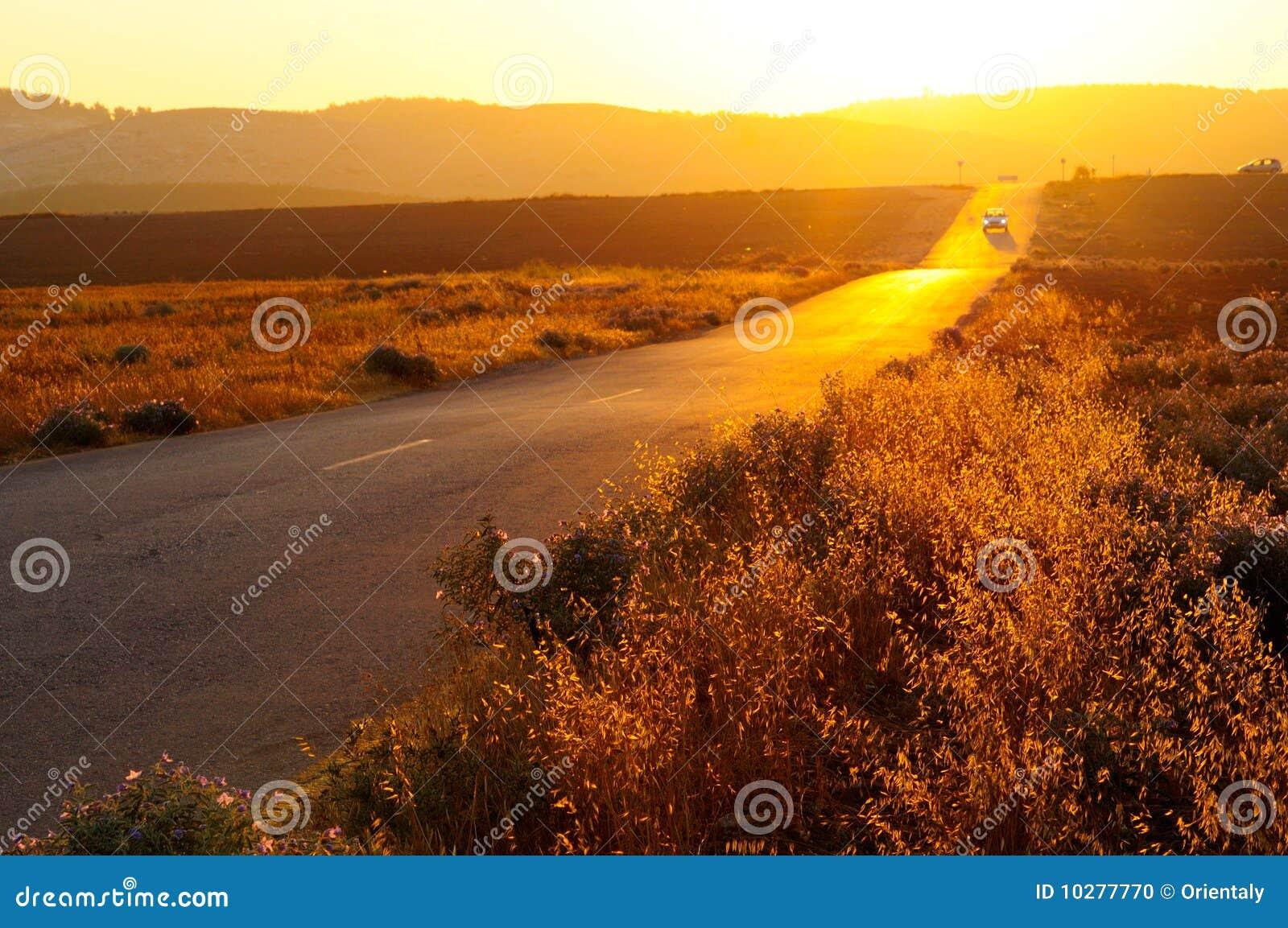 Route au coucher du soleil