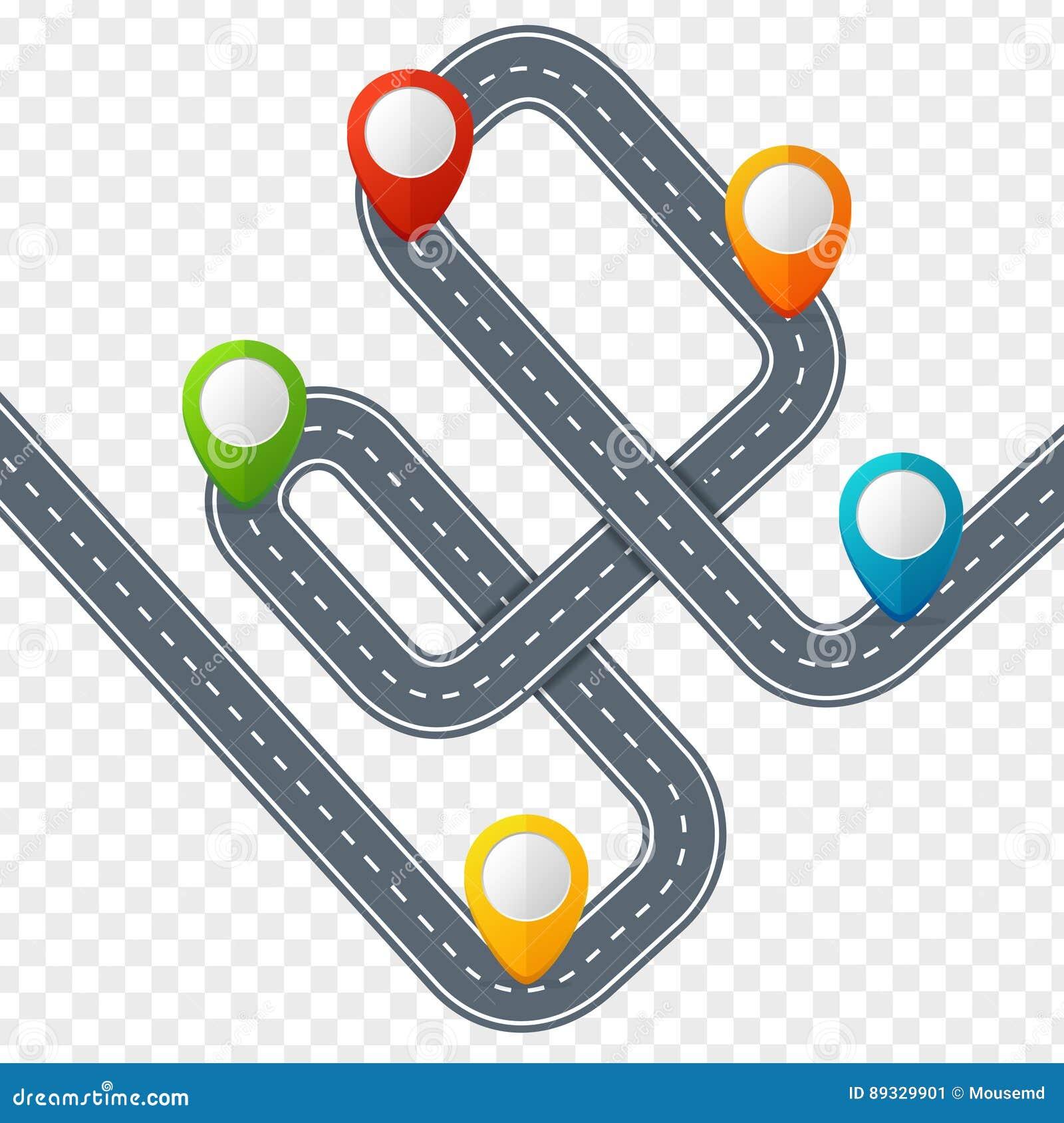 Route avec la marque ou le Pin Pointer d emplacement Vecteur