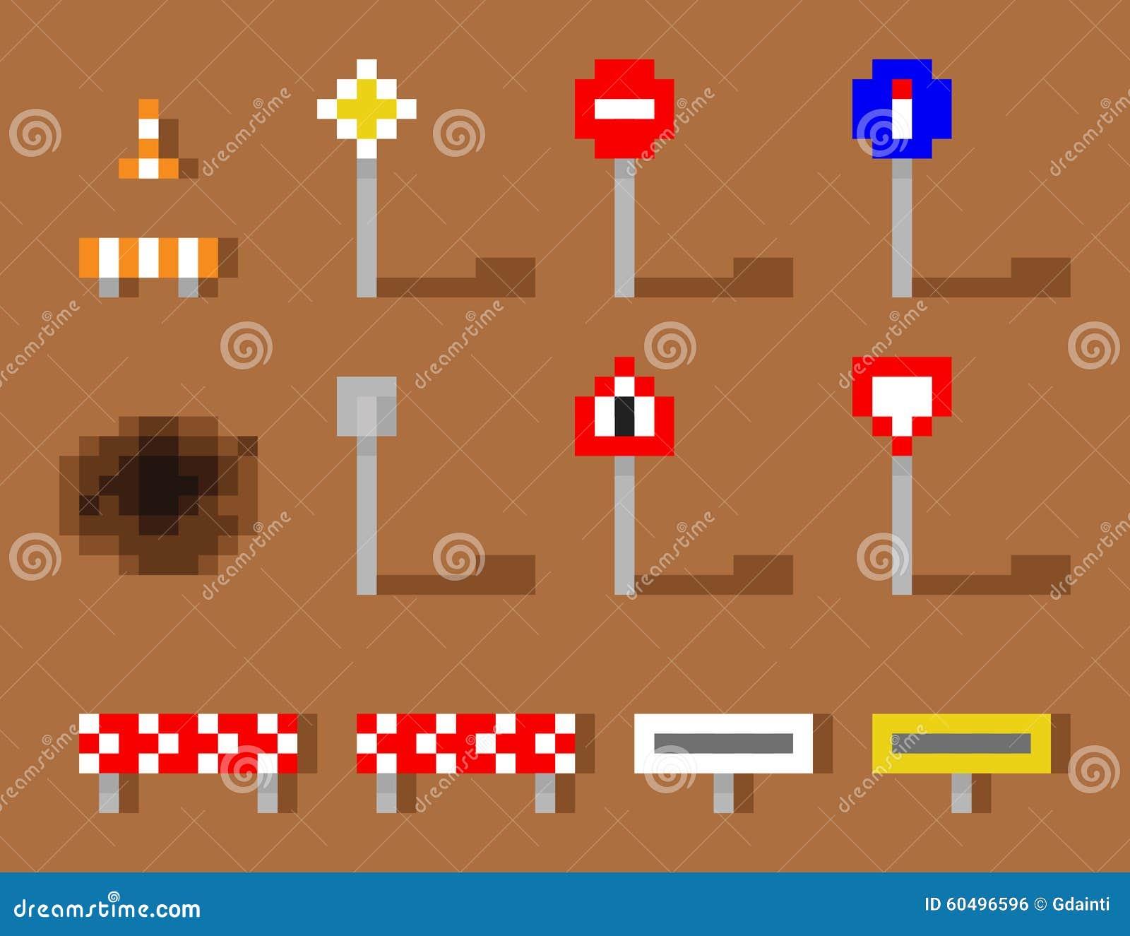 Route brune réglée d Art Vector Road Sign Icon de pixel