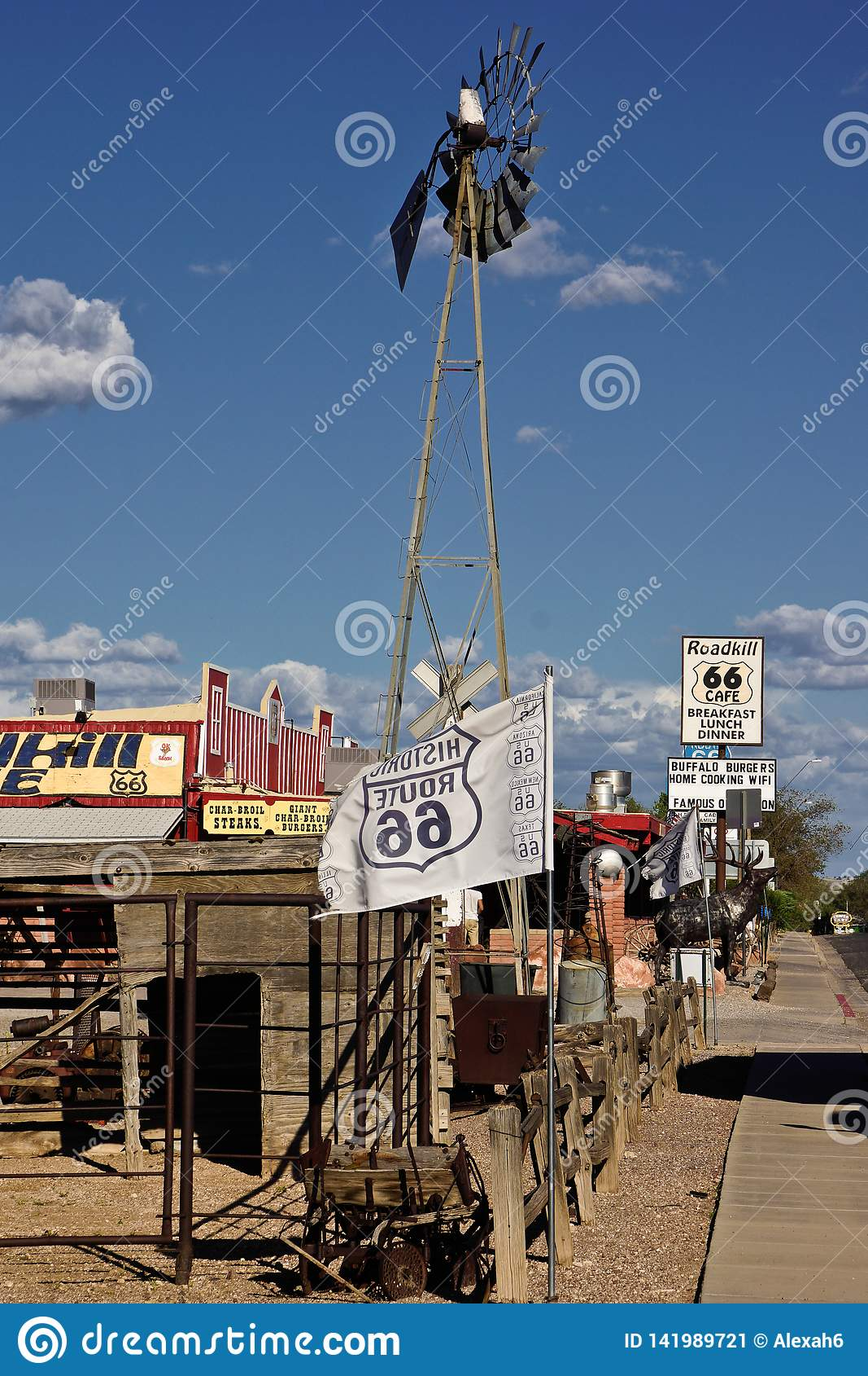 Route 66 cafe gas station on the side of the road