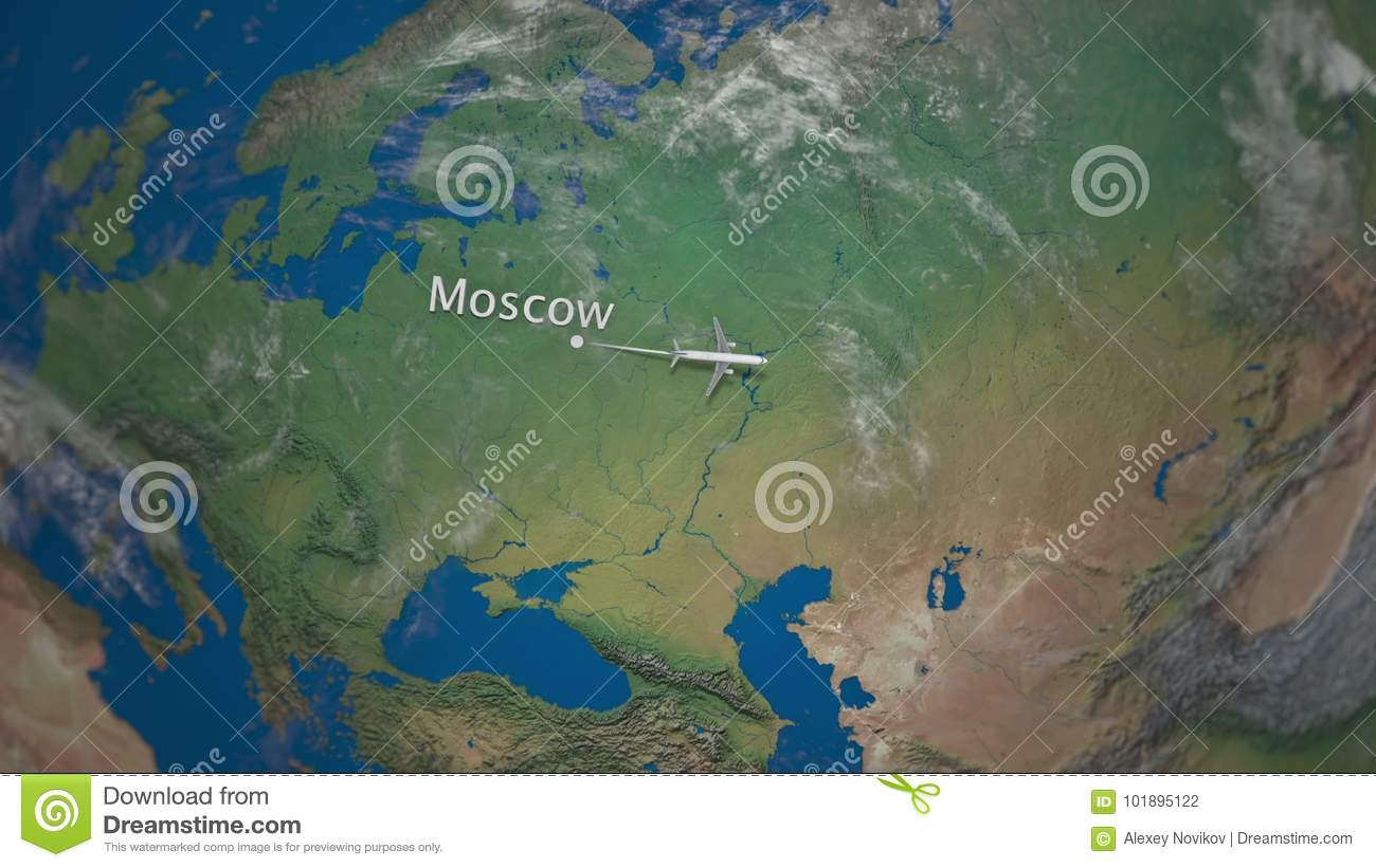 Route of commercial airplane flying from Moscow to Tokyo on the Earth globe. International trip intro animation