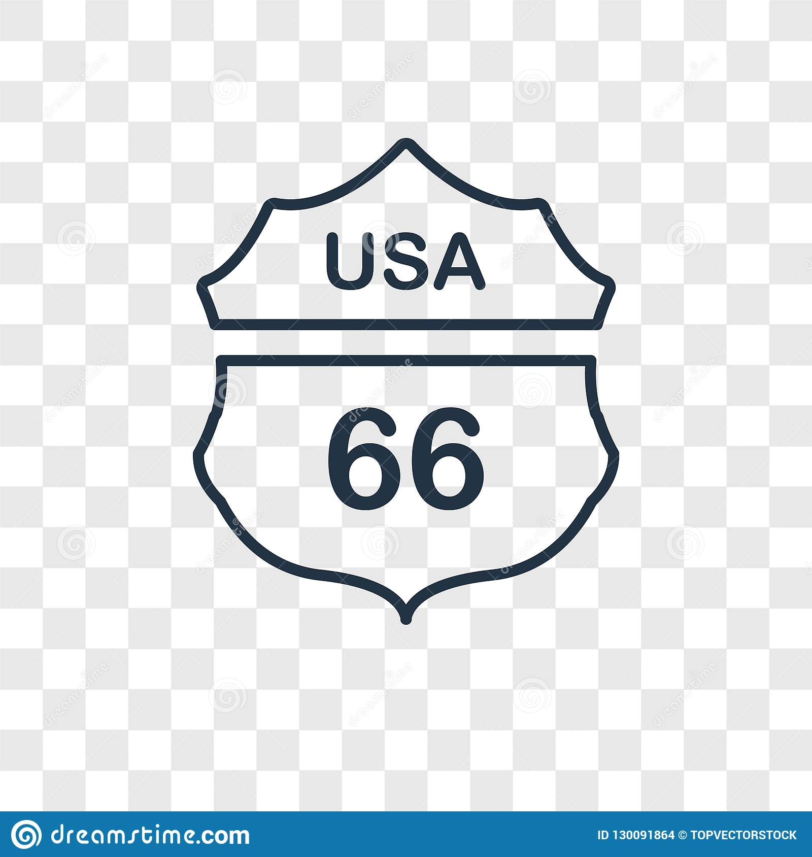Route 66 concept vector linear icon isolated on transparent back