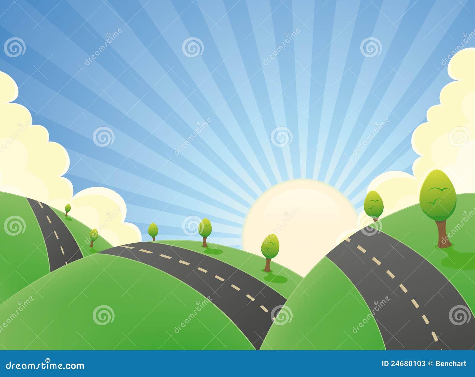 Dessin De Route route d'horizontal de dessin animé en été illustration de vecteur