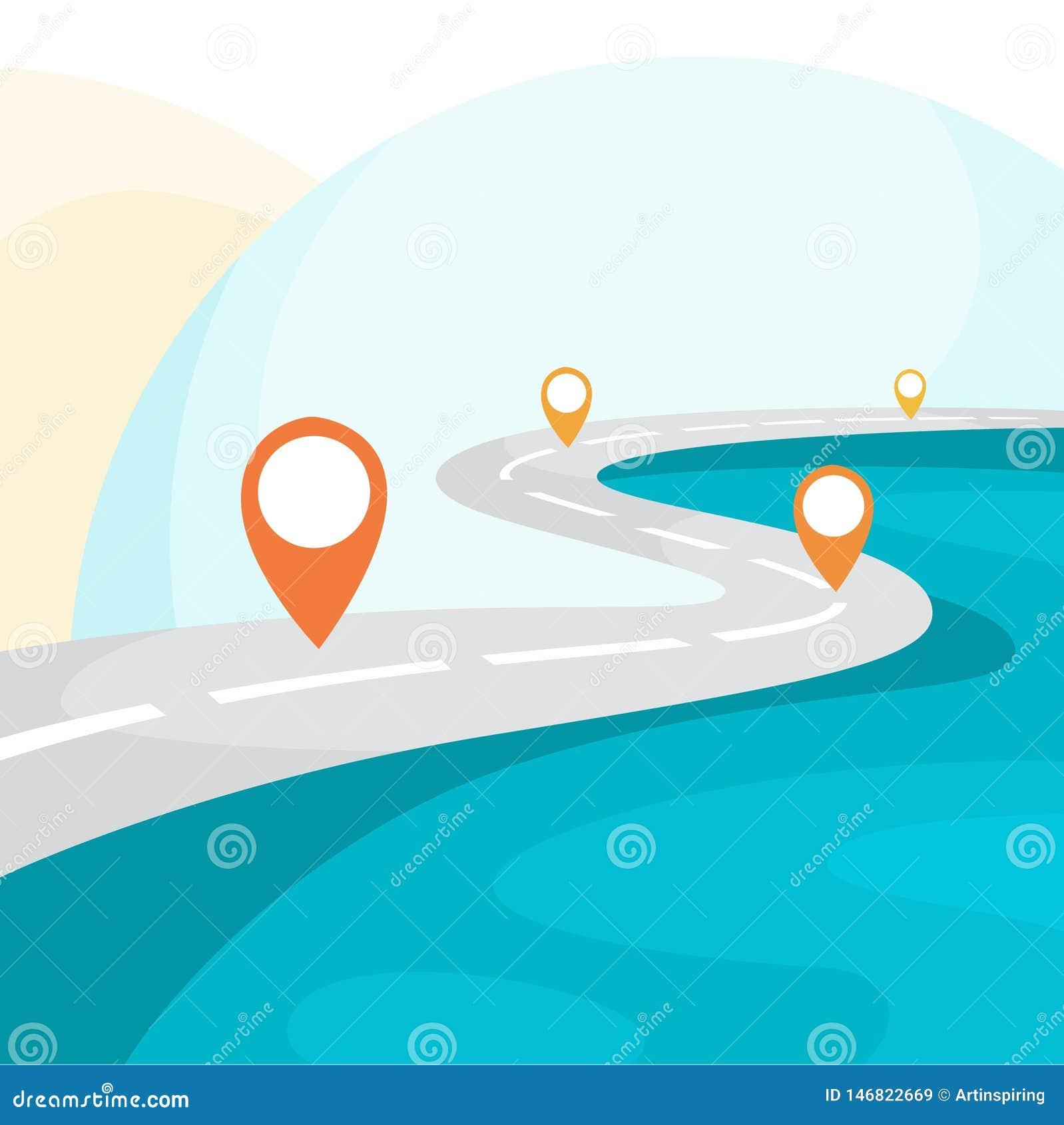 Route de route avec GPS se connecter le Id?e de la navigation