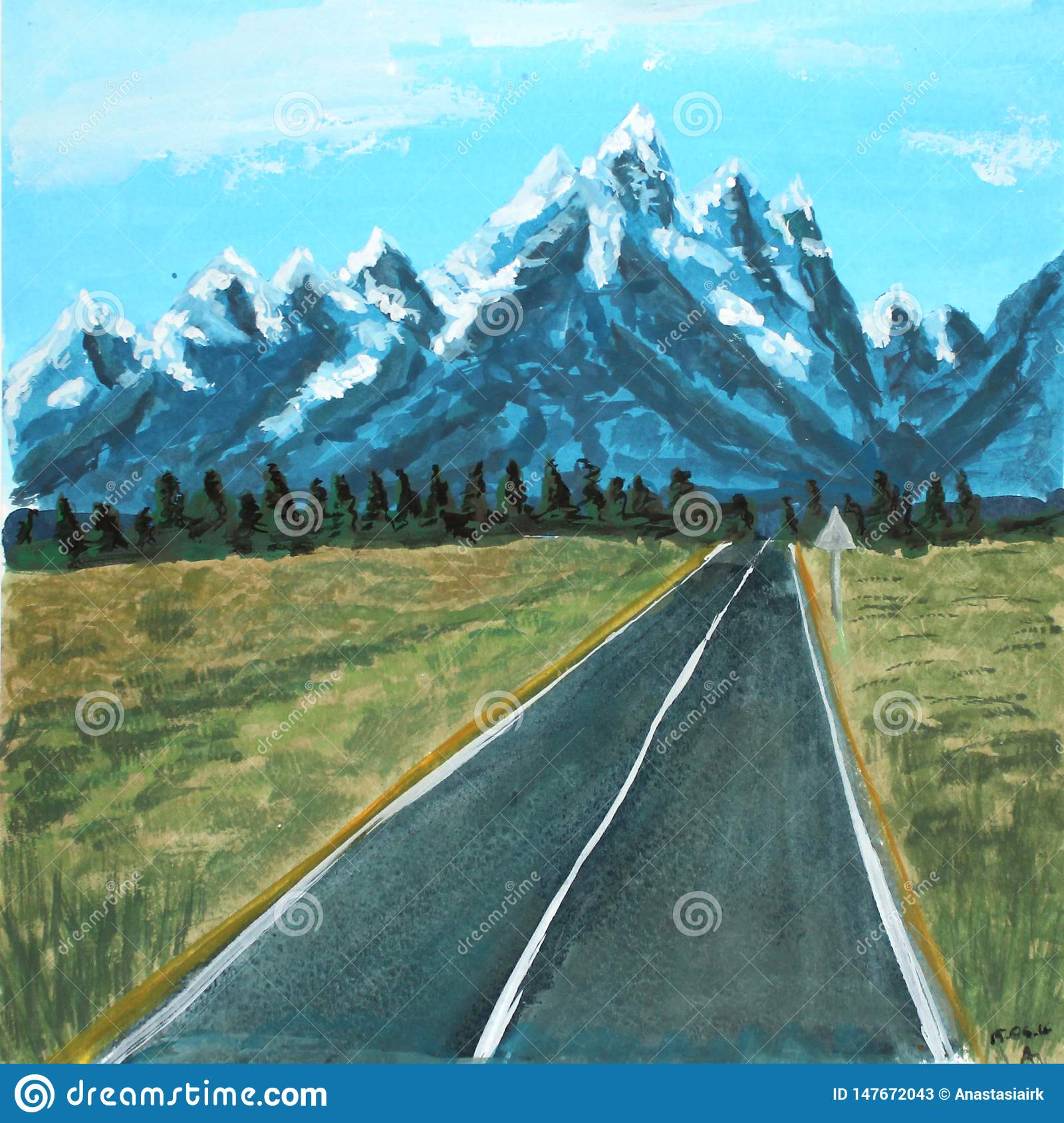 Route de paysage d aquarelle aux montagnes illustration de trame pour la conception