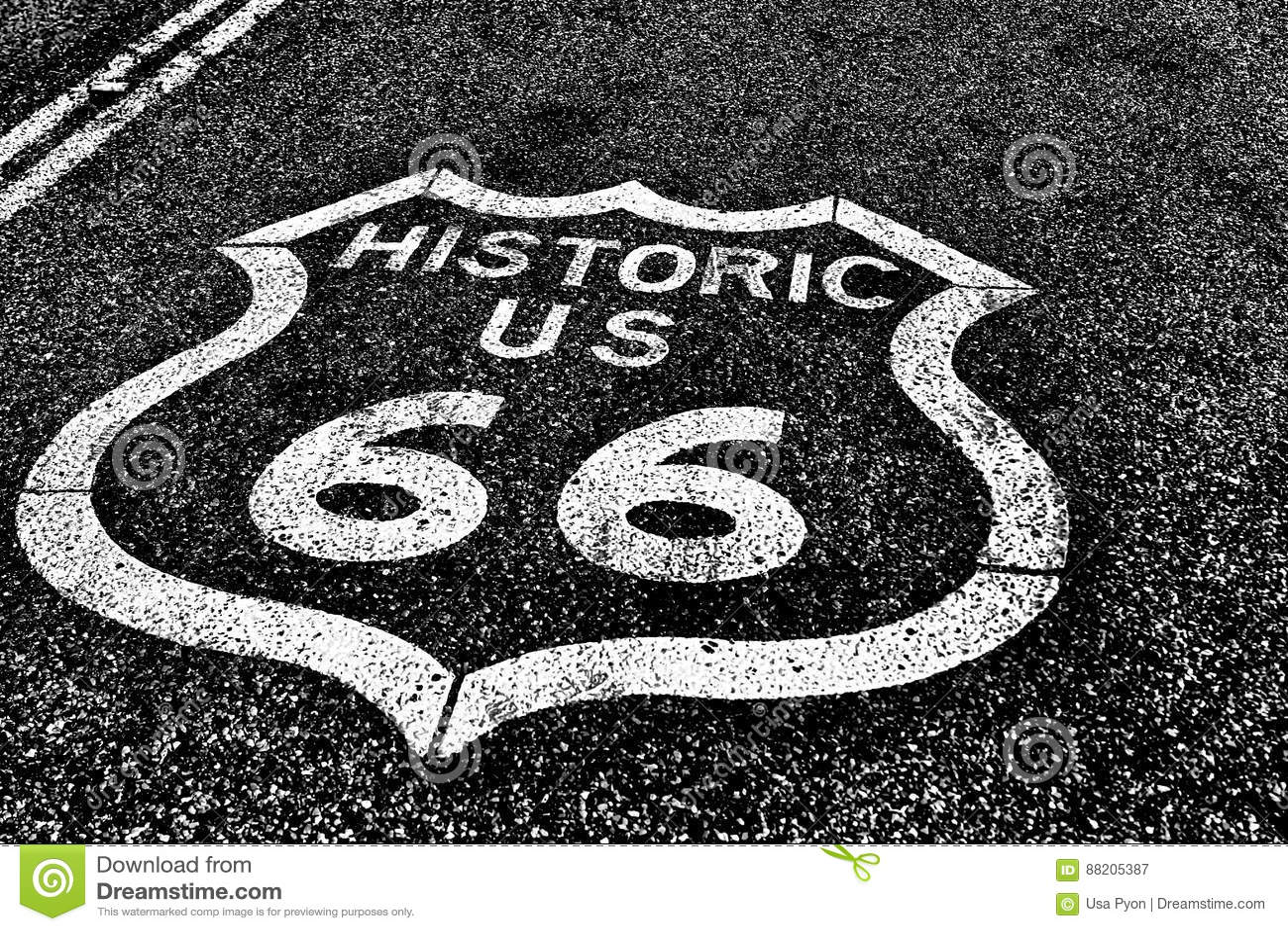 Route 66 der historischen Straße der staatlichen Autobahn