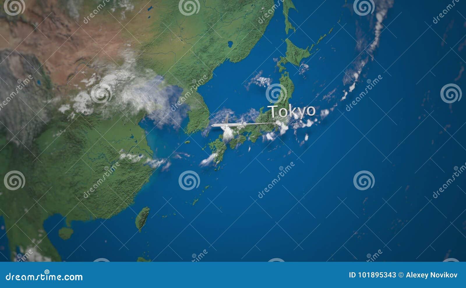 Route die van commercieel vliegtuig van Tokyo aan Doubai op de Aardebol vliegen De internationale animatie van reisintro