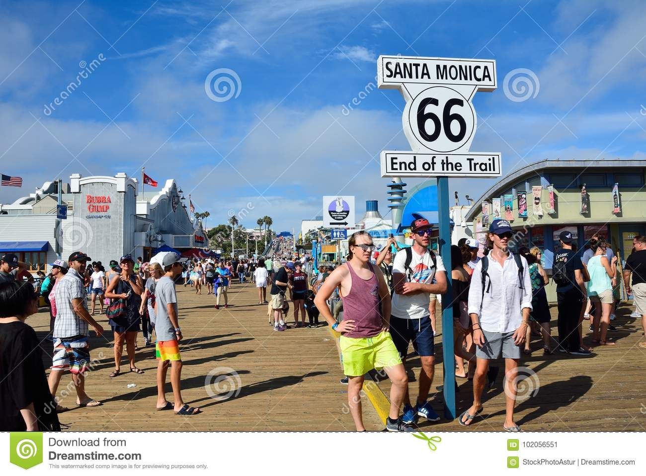 route 66 end sign on the santa monica pier. editorial photo - image