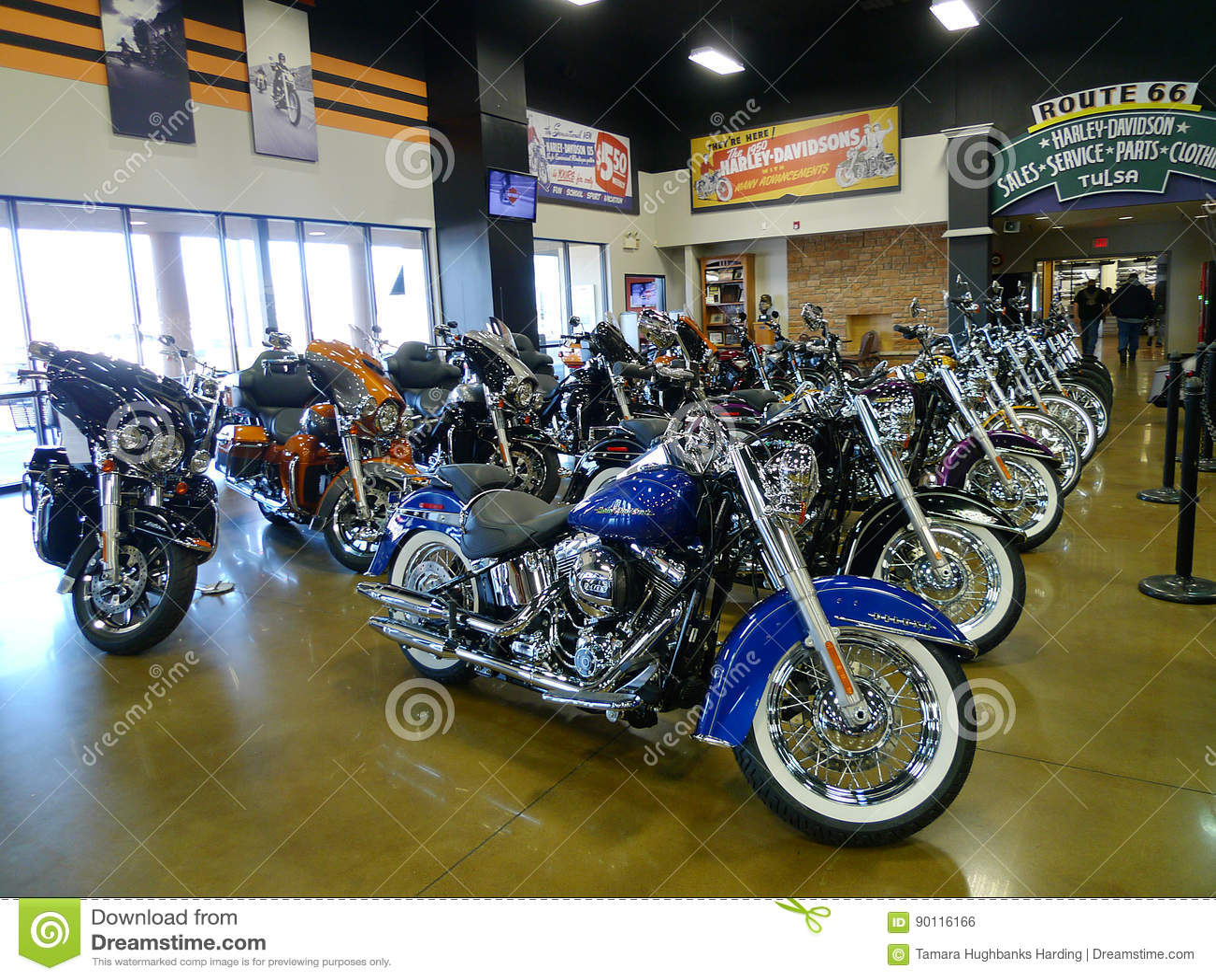 Route 66 Harley Davidson In Tulsa, Oklahoma, New Bikes Editorial