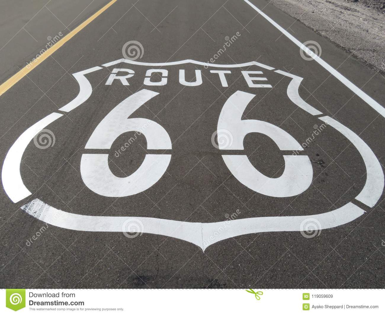 Route 66 Logo Printed on the Mother Road in California