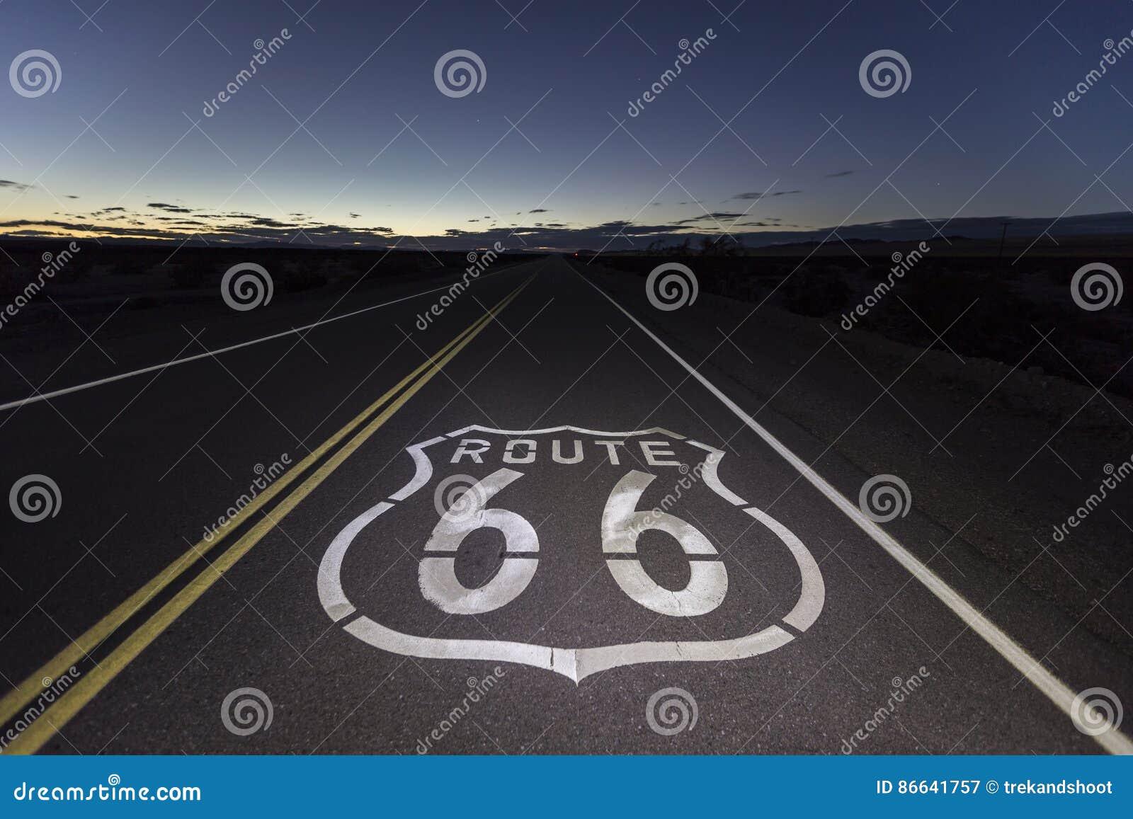 Route 66 -Mojave-Wüsten-Nacht