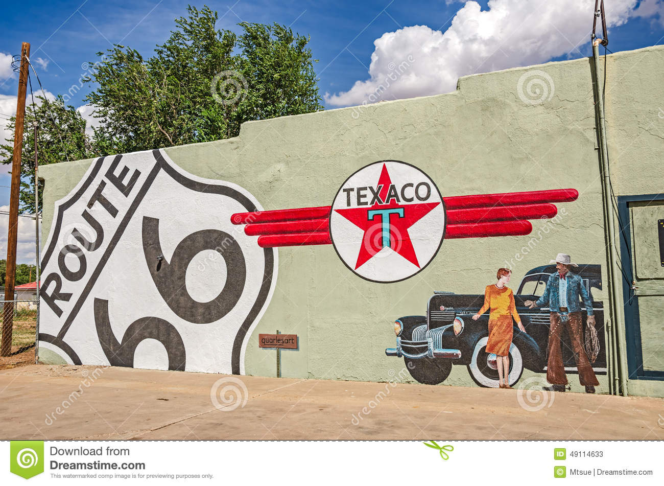 Route 66 mural with texaco sign editorial stock photo for Route 66 mural