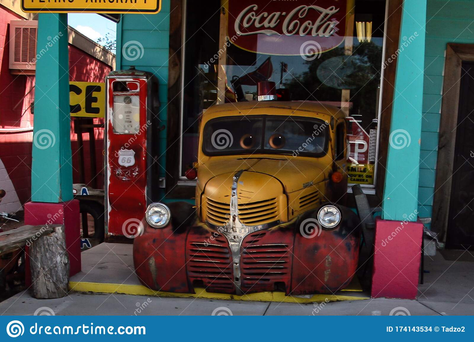 Usa Us Route 66 Shops Along Route 66 With Old Cars Inspired By Disney S Cars Movie Editorial Stock Image Image Of Vacation Tourism 174143534