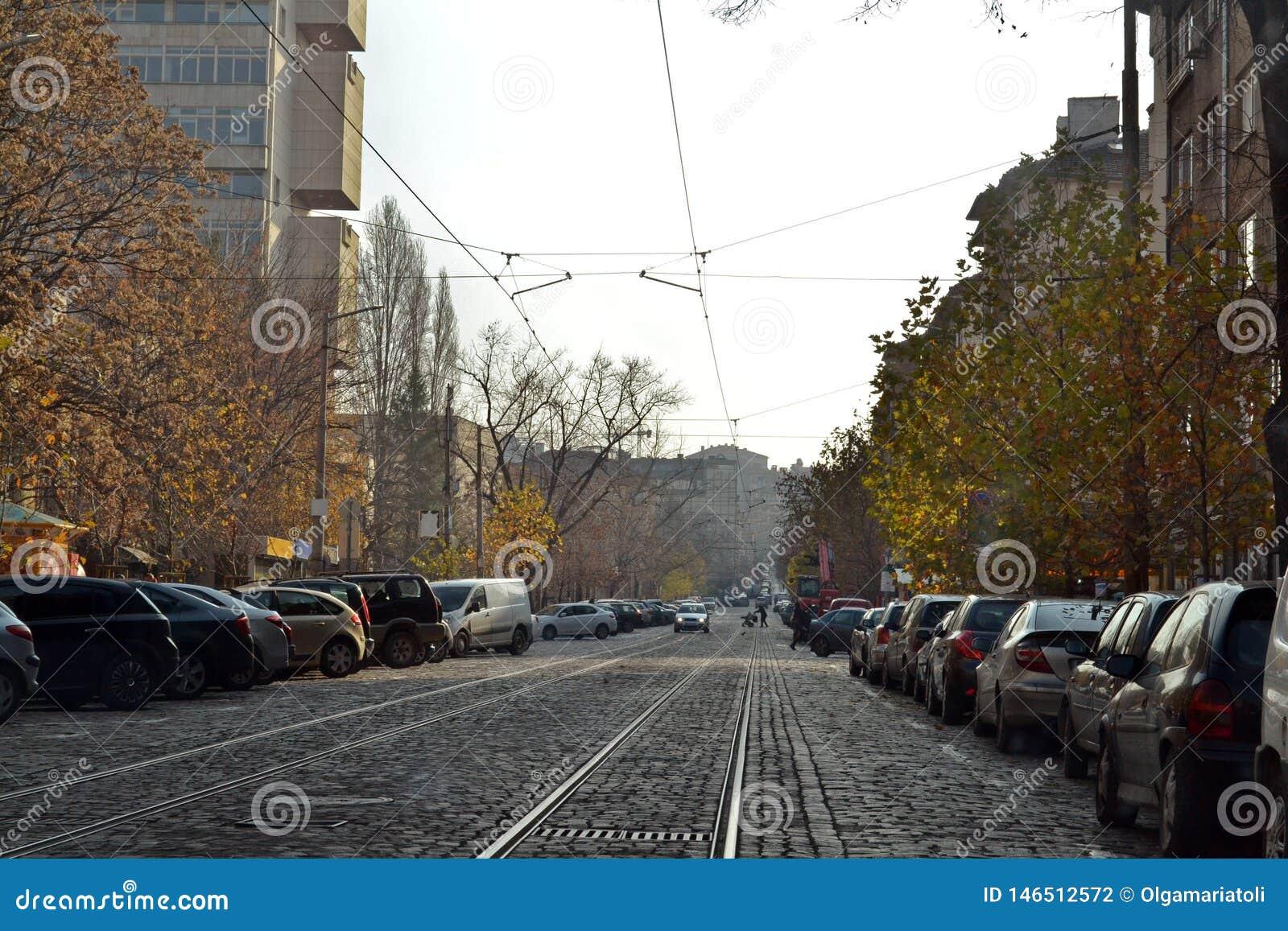 Route pavée à Sofia, la capitale de la Bulgarie
