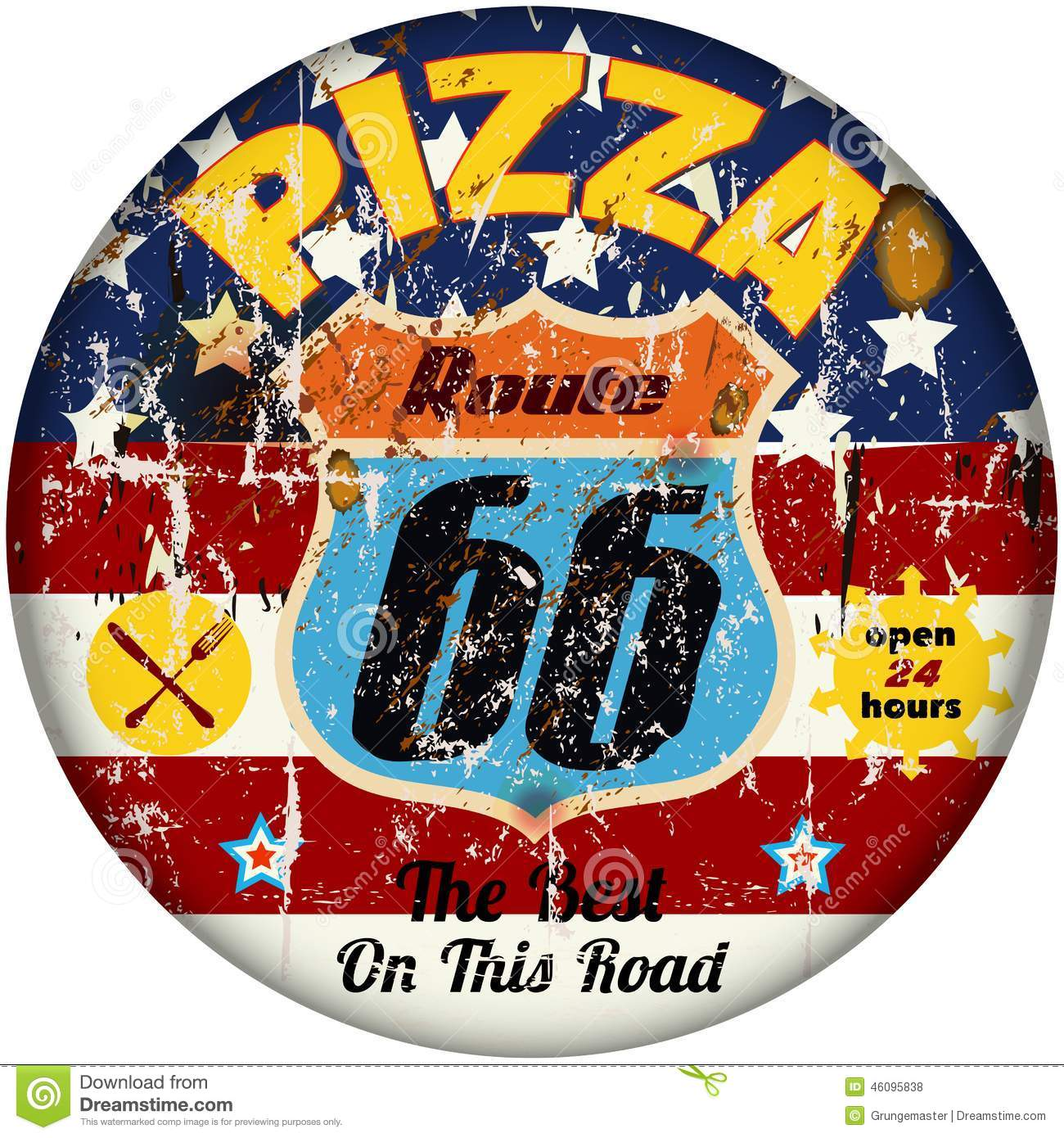 Route 66 pizza sign