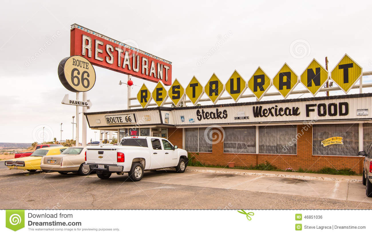route 66 restaurant and neon sign, santa rosa, nm editorial photo