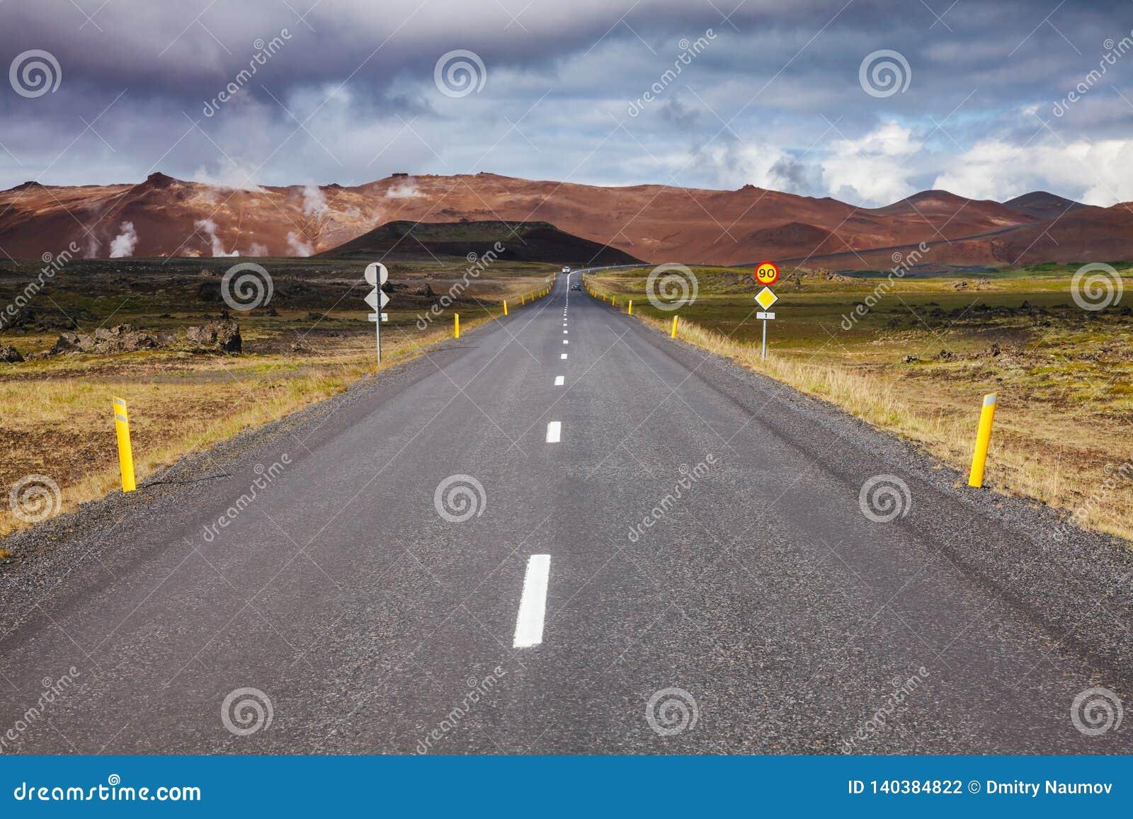 Route 1 Ring Road near Krafla Myvatn Northeastern Iceland Scandinavia