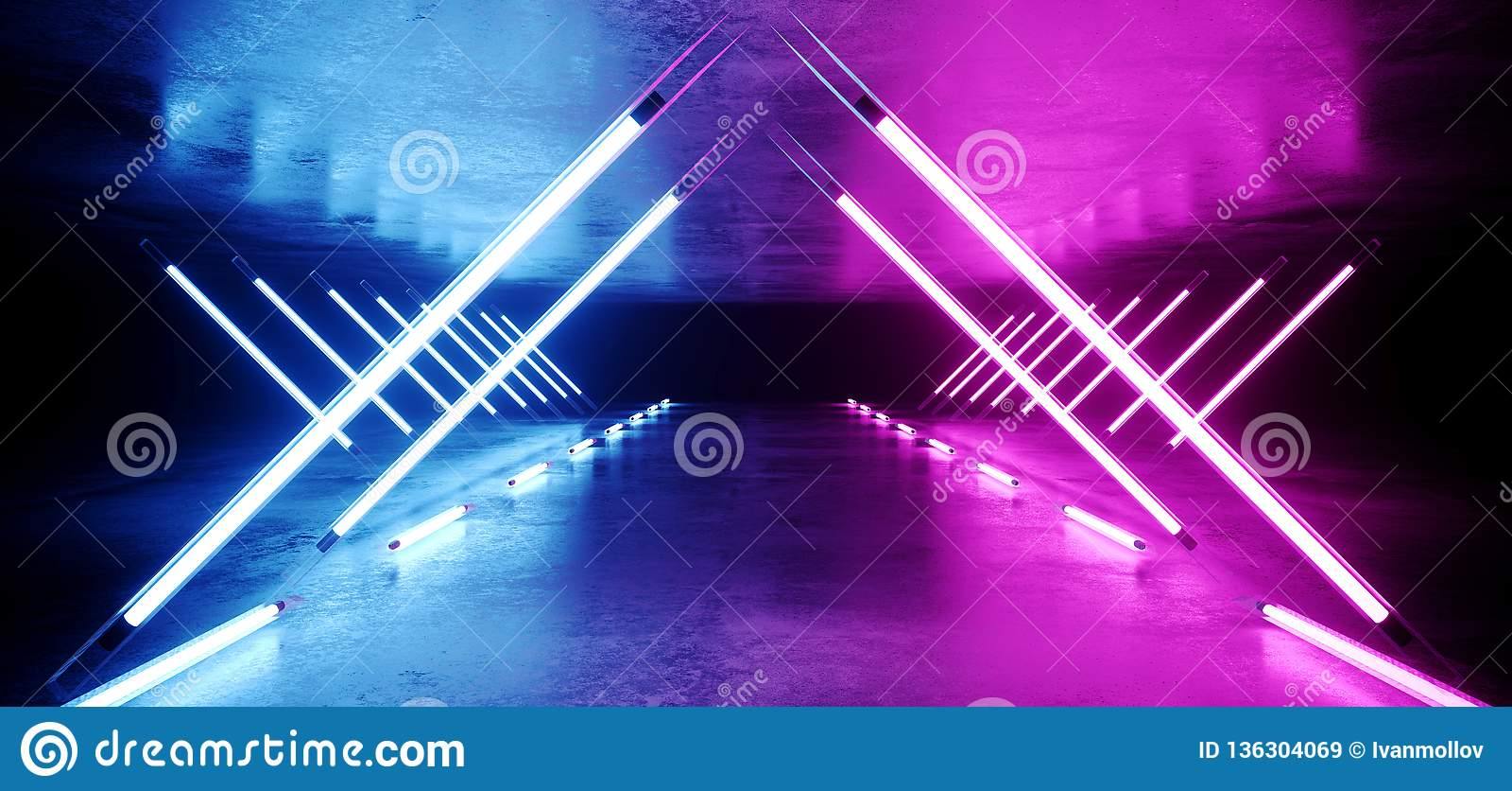 Route rougeoyante au néon de tunnel d étape ultra-violette élégante moderne futuriste de Sci formée par triangle fi longue avec l