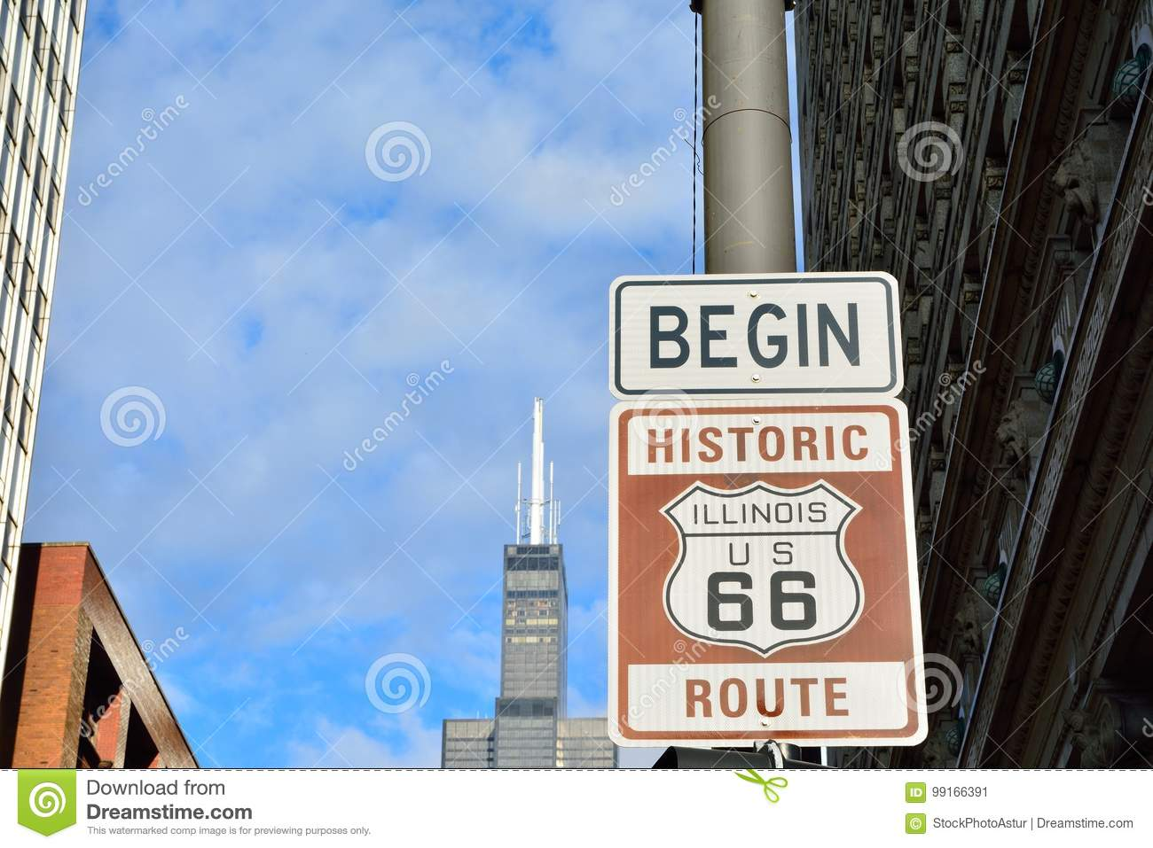 route 66 sign, the beginning of historic route 66. stock image