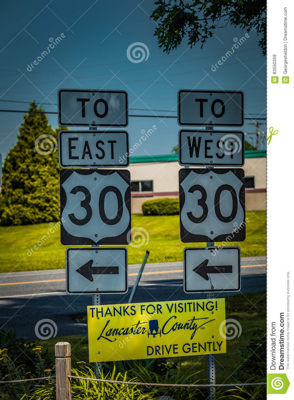route 30 signs in lancaster county editorial stock image - image of