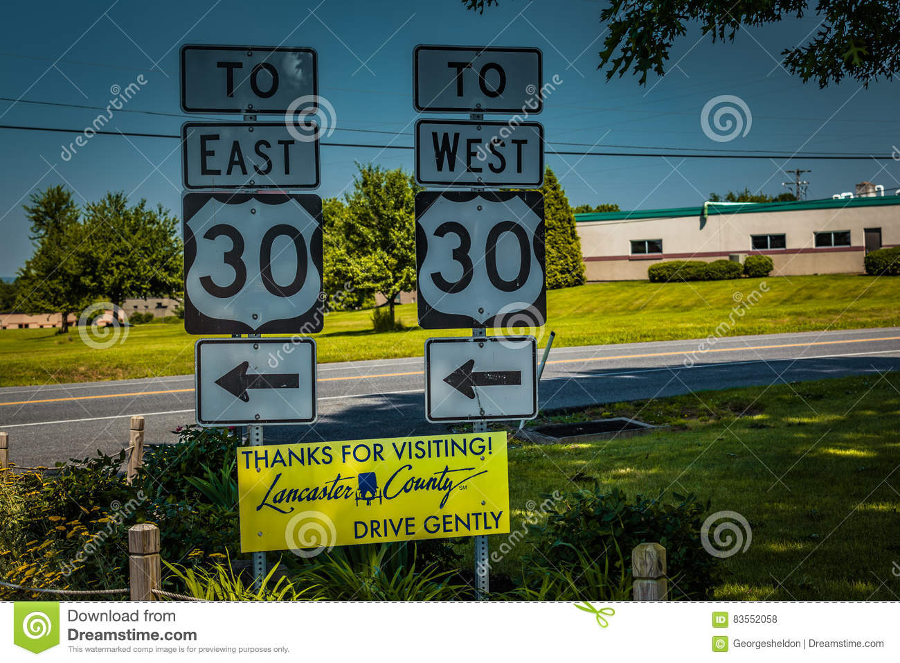 route 30 signs in lancaster county pa editorial stock photo - image