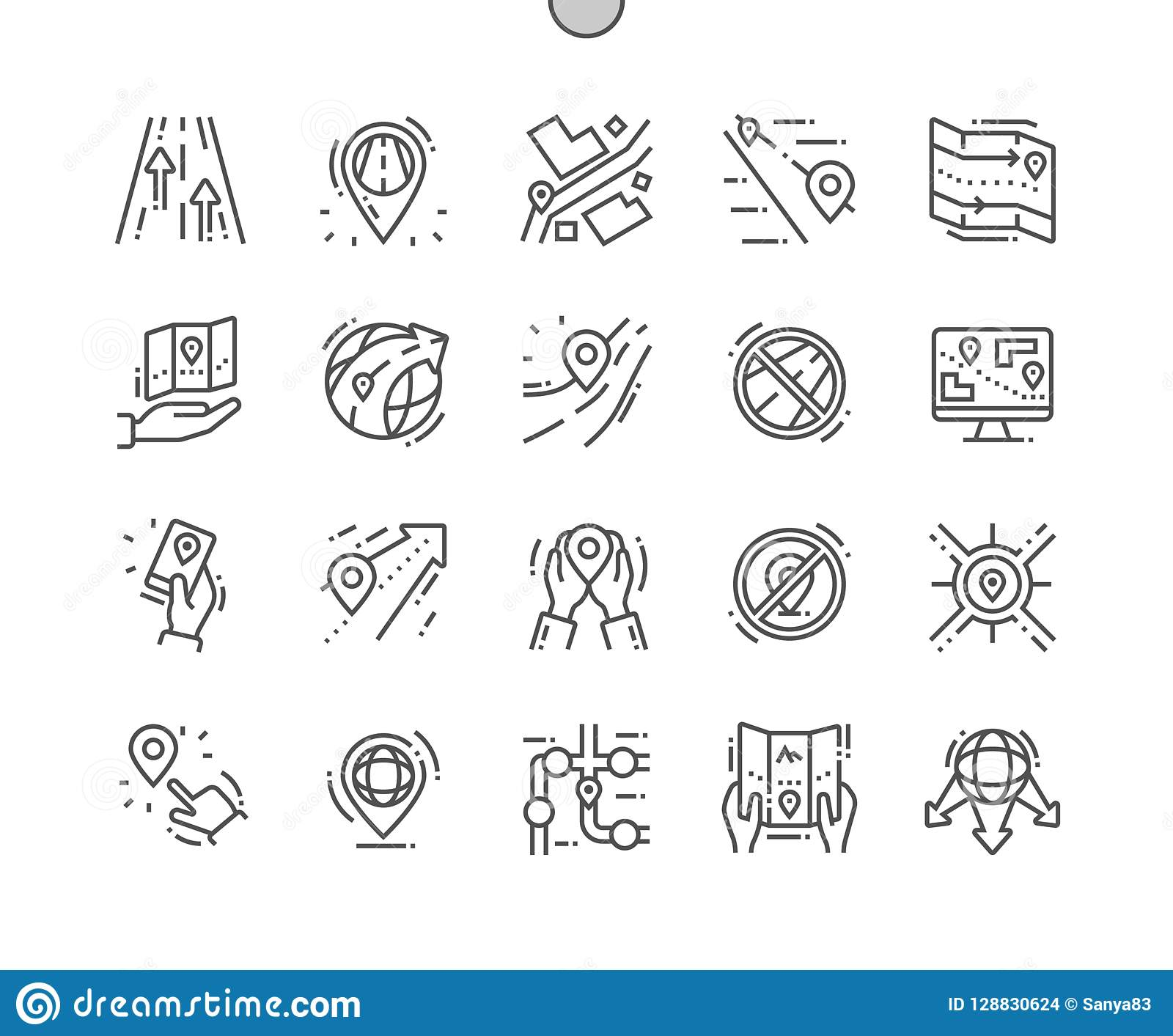 Route Well-crafted Pixel Perfect Vector Thin Line Icons 30 2x Grid