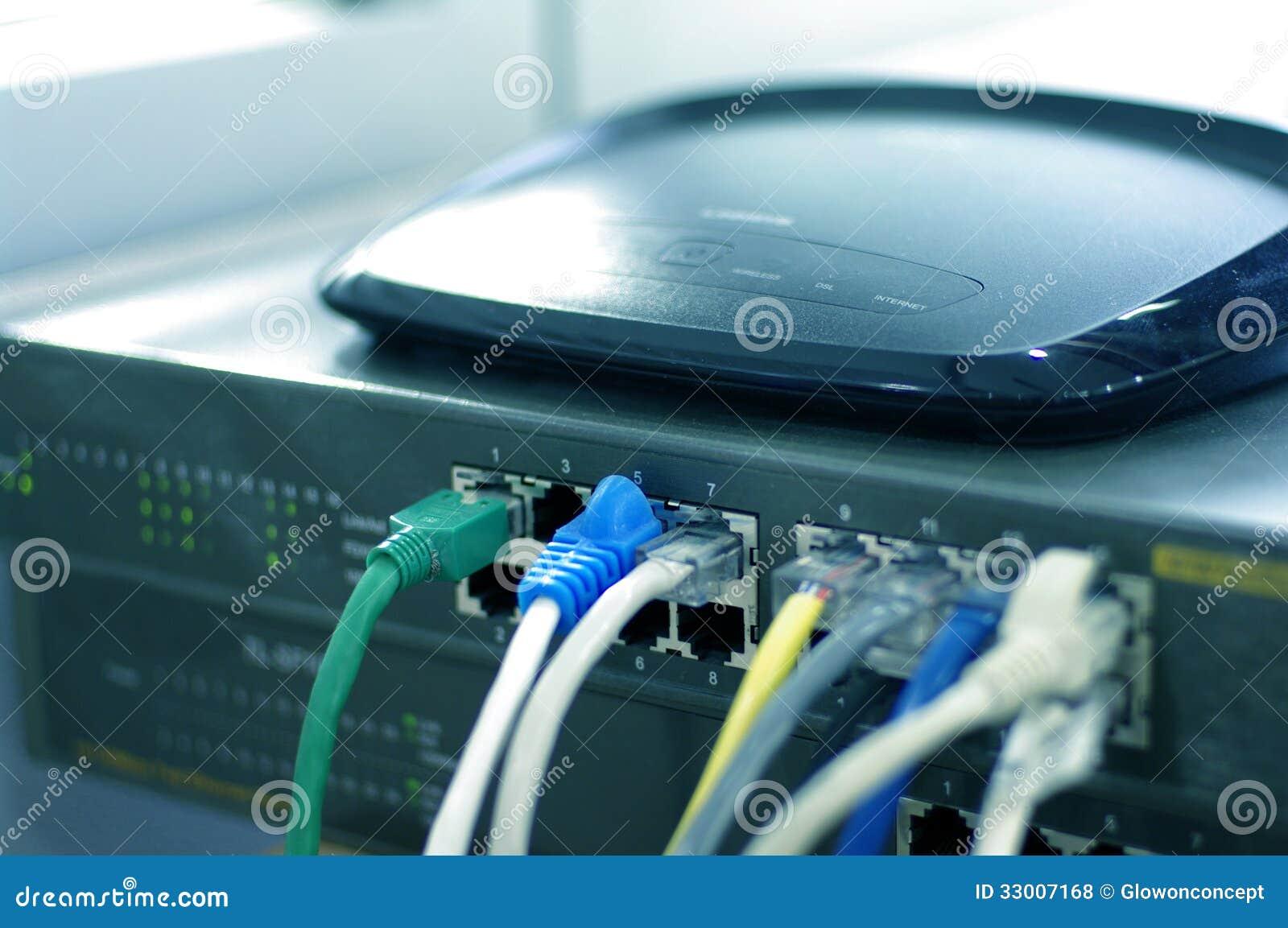 Router con los alambres del cable