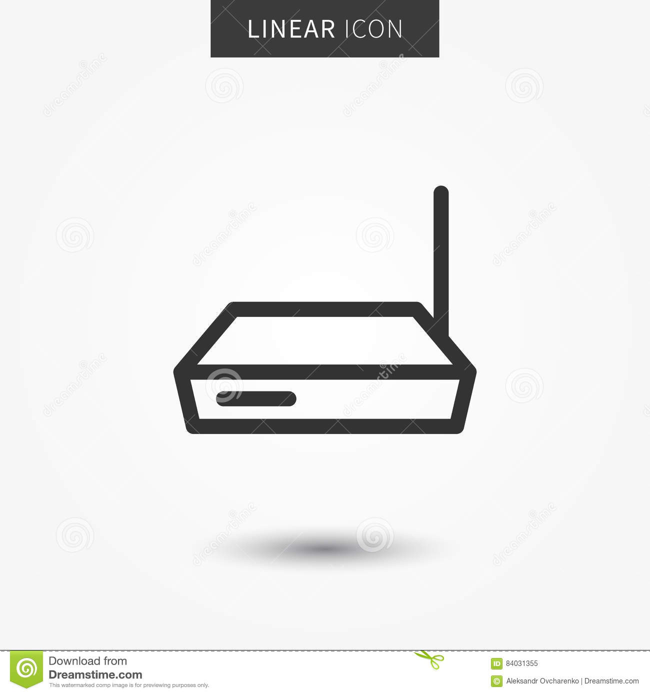 Wireless modem line concept. Web hub graphic design. Wifi router outline  symbol for app. Router switch pictogram on grey background.