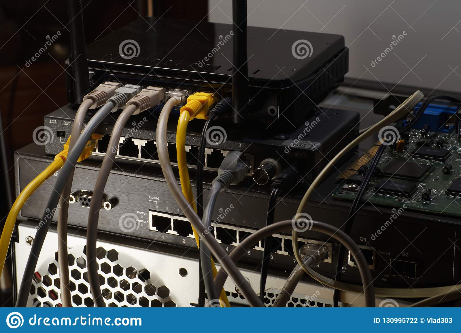 Fine Router Switch And Tangle Of Internet Cables Pc Connections Stock Wiring Database Gramgelartorg