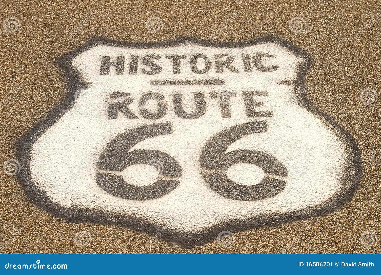 Routetecken för 66 trottoar