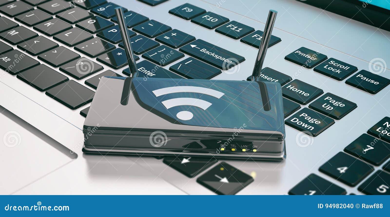 Routeur de Wifi sur un ordinateur portable illustration 3D