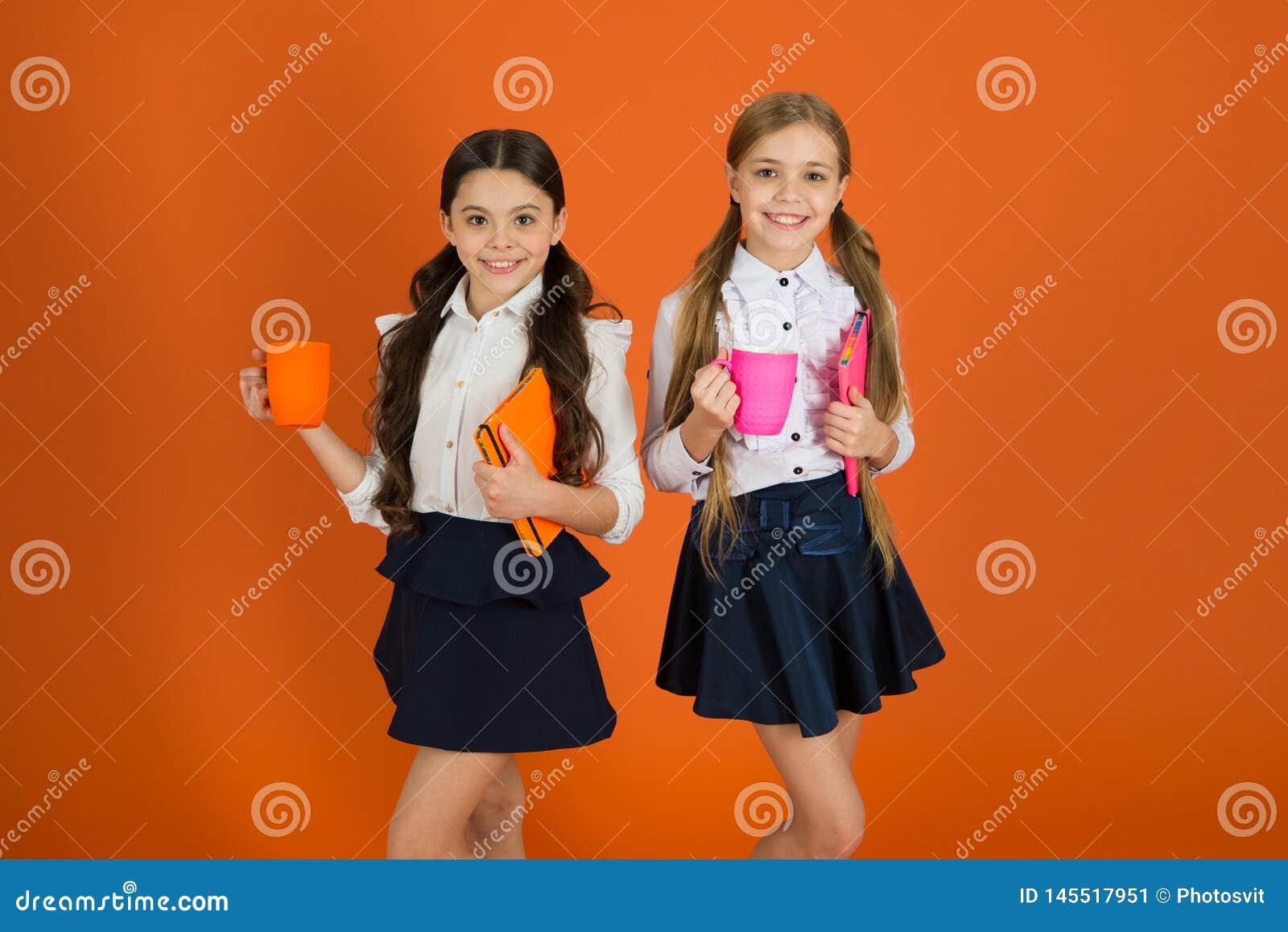 Routine della scuola Facendo rilassarsi rottura Rottura bevente di attimo del t? Compagni della scuola che si rilassano con la be